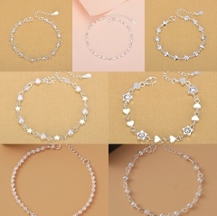 Love Star Beads Copper Chain Bracelet Silver Plated (about 20cm) Love Heart